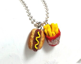 Hot dog necklace, fast food necklace, Food jewelry, French fries, Hot dog charm necklace, Food charm necklace, Fun food necklace, Foodie