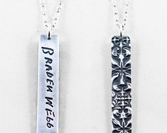 Memorial Jewelry Signature Necklace Your Loved One's Actual Writing or Signature on a Silver Rectangular Pendant - Handwriting Jewelry