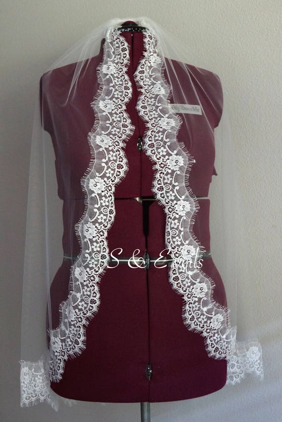 Cathedral Veil with Lace - Eyelet Wedding Veil