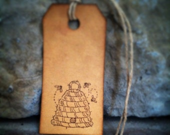 """Bee hive gift tags, sized 2 3/4"""" x 1 3/8"""", bee skep, rustic bee hive, little bees, set of 12 tags"""