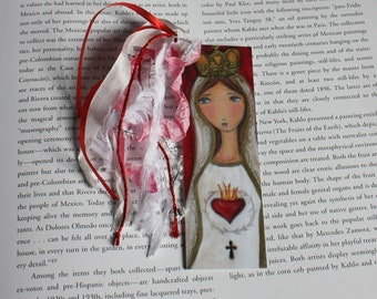 Virgen de Fátima -  Laminated Bookmark  Handmade - Original Art by FLOR LARIOS