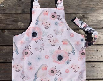 Water resistant Montessori apron, Floral Bird Waterproof Kids apron, Montessori materials, Montessori baby apron, Toddler, apron for girls