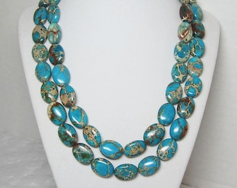 Turquoise Necklace, Blue and Brown, Double Strand, Statement Necklace, Oval Beads