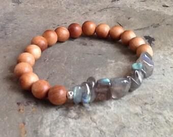 Sandalwood with Labradorite Stack Bracelet