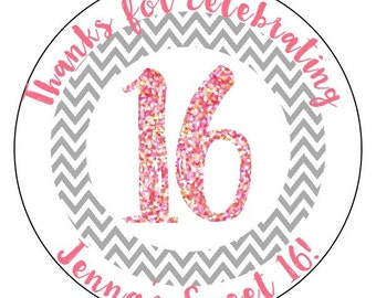 sweet 16 birthday stickers, pink sweet 16 party supplies, gray 16th birthday stickers, personalized birthday stickers, 3 sizes available