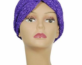 Purple Turban Style Hat