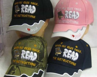I Love Jesus Bible Cap Hat Christian Scriptures When All Else Fails, Read the Instructions