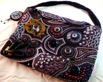 Handbag, Bag, Bead Embroidery