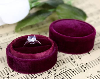 Velvet Ring Box in Burgundy Great for Wedding Gift, Fall Wedding or Bridesmaid Gift