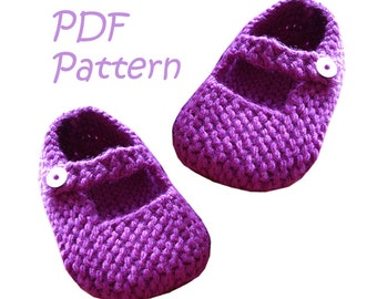 Knitting Pattern for Mary Jane Baby Shoes 12-18 months - PDF