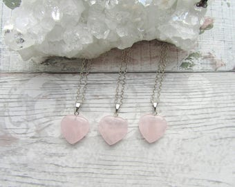 Rose Quartz Heart Pendant - Gemstone Necklace - Carved Silver Plated Stone Jewellery