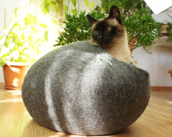 Cat bed, house, cave.  Size L. Natural felted sheep wool. Color dark grey. Made by kivikis.
