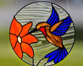 Hummingbird, stained glass hummingbird suncatcher, stain glass hummingbird ornament, blue hummingbird, hummingbird decor, bird decoration