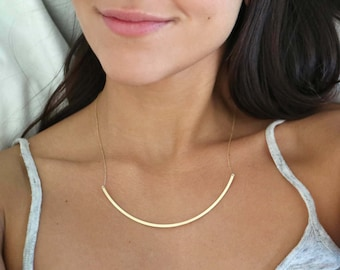 Large 'Camara' Skinny Plate Necklace, Yellow Gold Pendant, Minimal Style, 14 karat Solid Gold Delicate Pendant, Minimal Geometric Necklace