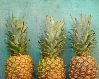 Pineapple Photograph - Pineapple Art - Food Photograph - Kitchen Wall Art - Aqua Turquoise - Fruit Print - Kitchen Decor - Modern Minimalist