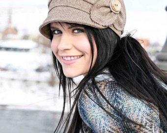 Etta Hat- chestnut herringbone, womens newsboy, womens hat, womens cap, fall hat, wool hat