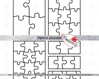Jigsaw Puzzle Template PDF and Clipart SET: (300 dpi) School Teacher Clip Art Puzzle Game