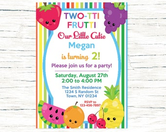 Tutti Frutti Birthday Invitation, Twotti Frutti Invitation, Second Birthday Invitation, Fruit Second Birthday, Rainbow Invite
