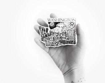 "Washington State  4"" Weatherproof and durable, Outdoor sticker, Travel sticker, Wanderlust, Mountains,  Stickers"