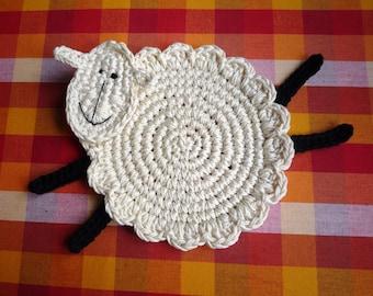 Crochet Sheep Coaster Pattern - Sheep Pattern - Lamb Pattern - Farmhouse Decor - Lamb Coaster Pattern - Sheep Coaster - Home Decor