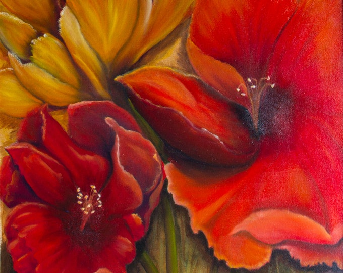 Flower Big Red Hibiscus, Giclee Print on Fine Art Paper or Canvas