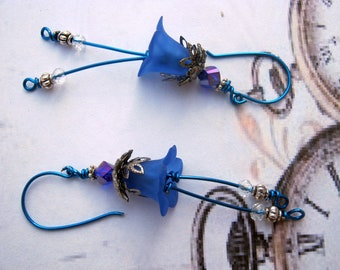 Blue Earrings Wire Wrapped Earrings Fairy Flowers Earrings Glass Earrings Dangle Fantasy OOak Earrings-Gift
