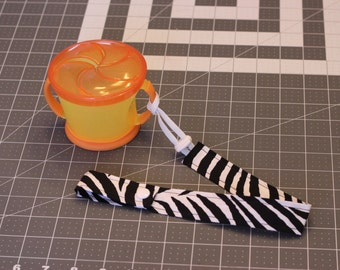 Zebra Bottle Strap With Elastic and Toggle End, Sippy Cup Leash, Bottle Leash, Sippy Strap, Snack Cup Leash Baby Shower Gift