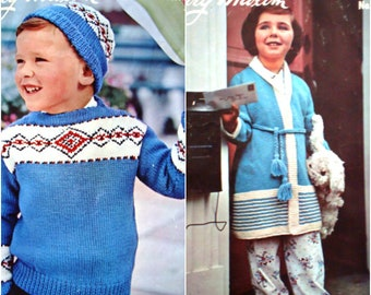 Children's Pullover & Cap and Dressing Gown Knitting Pattern by Mary Maxim No 1811 A and 1811 B Sweater Housecoat Cardigan Toque Fair Isle