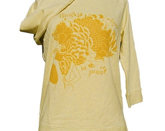 "Polo cotton organic screen print ""Good feel"" mottled yellow and ochre, S and M Stanley and Stella illustrion Clarisse closet"