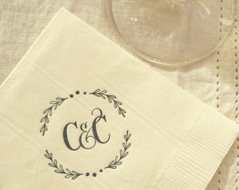 Wreath Monogrammed Napkins | Newlyweds | Wedding or Personalized Home Gift | Darby Cards