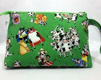 Cow Knitting Project Bag, Sock Project Bag, Zippered Project Bag, Wedge Project Bag, Knitting Organizer, Milk, Cows