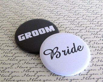 Bride and Groom - Wedding 2 1/4 inch Pin Back Buttons Set of 2