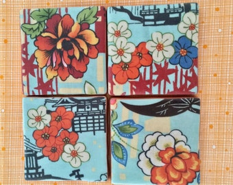 Asian Inspired  Floral Coaster Set - Perfect for the World Traveler or as a Housewarming Gift