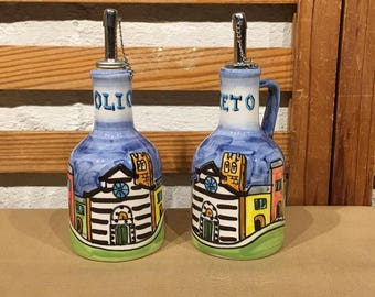 Hand Painted Oil & Vinegar Salad Dressing Cruet Set Dipo A Mano Made in Italy