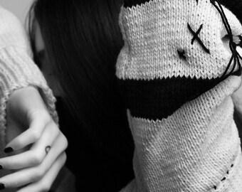 Black & White Jagged Stripe Sweater (Hand-Knit)
