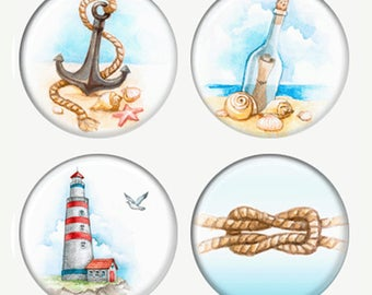 Aimants d'été aquarelle ou macarons ou Flatback médaillons phare noeud Message dans une bouteille ancre sur le sable