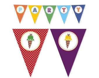 50% Off Sale! - PRINTABLE Rainbow Ice Cream Party Banners