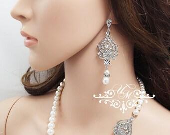Wedding Necklace Single Strands Swarovski Pearl Necklace Motif Necklace Bridal Necklace Bridal Jewelry Bridesmaids Necklace - RAISA