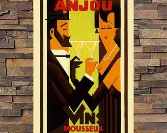 Anjou Mousseux Vintage Liquor Ad, Vintage Art, Giclee Art Print, fine Art Reproduction