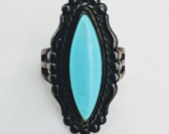 Turquoise Ring with Sterling Setting, circa 1978