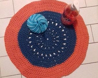 round rag rug in crochet