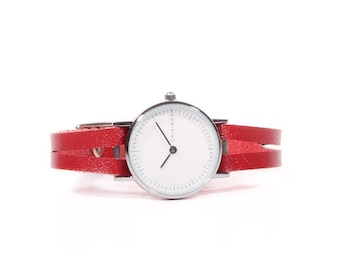 Delicate red leather women's watch - Watch Red delicate