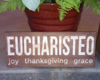 "Eucharisteo: Joy, Thanksgiving, Grace - 7""x18"" Wall Art"