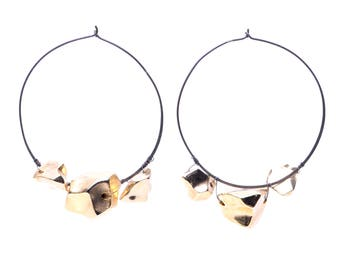 Oversized Oxidized Silver Hoop Earrings with Gold Lucite