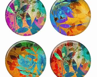 Promesse de l'été des feuilles coloré Composition aimants ou Pinback Buttons ou Flatback médaillons Set de 4