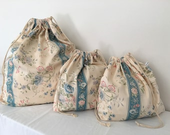 "Set of 3 ""Sheridan Print"" Cotton Bags, Travel Bag, Laundry Bag, Overnight Bag, Toy Bag, Underwear Bag, Utility bag, Beach Bag, Accessory Bag"