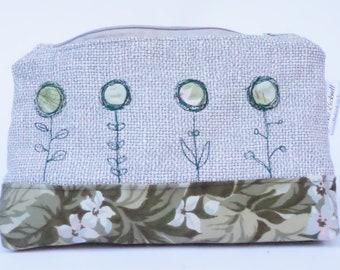 Flower zipper pouch makeup bag one off