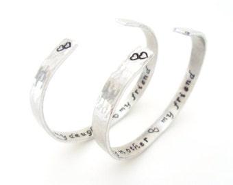 Mother Daughter Bracelet Set, Textured, A Pair TWO Bracelets, Friendship, LoVe Bracelets. Customizable