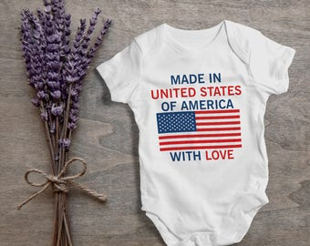 Made In US of America with love,funny baby bodysuit,one piece,humor,new born,cute,burp,outfit,game ,baby shower gift,cute baby,gift