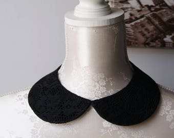 Lace collar necklace in black round shape detachable removeable accessories for women two-sided laced collar peter pan romantic classic